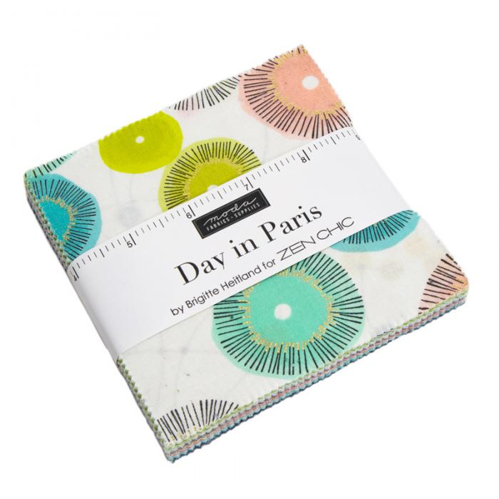 Day in Paris,Charm Pack, 42 Quadrate 5 Inch x 5 Inch (12,7 cm x 12,7 cm) by ZEN CHIC